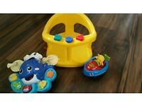 Baby/toddler bath seat/vtech/musical toys bundle