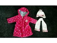 Baby girls dressing gown, hat and scarf age 3 - 6 months