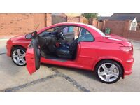 BEAUTIFUL BRIGHT RED PEUGEOT 206 CC, LOW MILEAGE £1300 o.n.o
