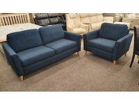 Brand New Designer Brooke Linosa Navy Blue Fabric 3 Seater Sofa & XL Armchair Can Deliver