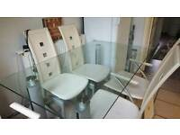 Cream leather dining table 4chairs+2carvers