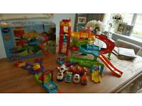 Vtech toot toot drivers garage, race track and 8 vehicles