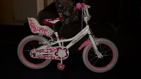 "GIRLS 16"" JASMINE BIKE WITH STABILIZERS , £29.99"