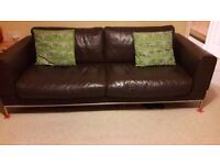 Chocolate brown leather large 3 seater sofa