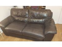 Leather 3 seater and 2 seater sofa bed, dark brown