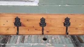 Coat rack rustic look 3 coat hooks