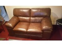 Brown leather 2 seater couch