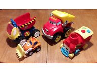 4 chunky trucks, digger, train, suitable for 9months+