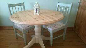 Refurbished Pine Table And 2 Chairs