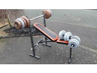WEIDER FOLDABLE BENCH WITH 48KG WEIGHTS & BARS