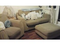 REDUCED IN PRICE FOR QUICK SALE. Beige sofa, chair and foot stool ONLY £35