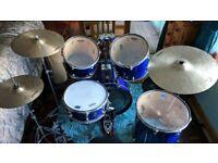 Premier Drum kit, Dream Cymbals, Milennium Double kick pedal & hardware