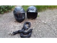 2 Helmets and chain