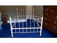 Antique Cast Iron and Brass Bed Frame
