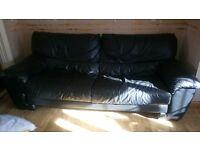 Black leather suite 3 seater sofa and 2 seater sofa excellent condition