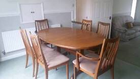 G PLAN FRESCO EXTENDING TABLE SIX CHAIRS AND LARGE WALL UNIT
