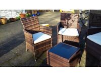 Rattan look brown armchairs x 4 with side table and four cushions
