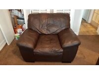 Large 3 seater leather sofa & chair