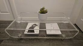 Habitat alegro clear coffee table /media stand.