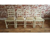 Vintage Sack Cloth Dining Chairs Ladder Back Plain Hessian Upholstery - Brand New