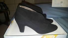 Ladies black suede open heel shoes