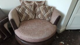 Brown & Beige 3 Seater Sofa, Swival Chair to match.