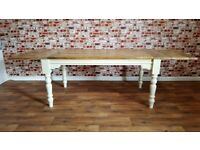 Rustic Extendable Farmhouse Kitchen Dining Table Turned Leg Painted Finish - Seats up 12