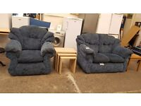 Blue patterned fabric 2 seater and armchair matching suite