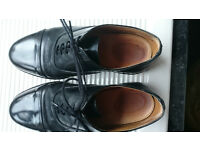 Mens Black Leather Parade Shoes British Army / RAF / Cadet With Toe Cap – Size 9 (EU 43)