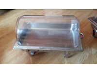 Chafing dishes with clear roll top, chairs, tables, chair and table covers and sash for hire