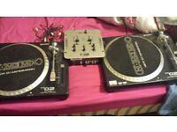 x 2 Gemini decks tt02 full manual direct drive turntables
