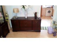 Dark wood furniture and fireplace for sale. Will sell separately