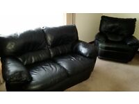 Black Leather 2 Seater Sofa & Matching Reclining Chair