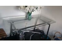 dining table glass with crome legs