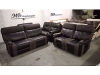 NEW ScS RALPH BLACK & GREY 3+2 SEATER MANUAL RECLINER SOFAS Can Deliver View Collect Kirkby NG177