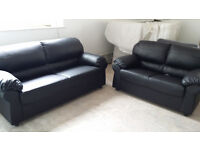 NEW Graded Black Leather 2 + 3 Seater Sofa Suite Free Local Delivery