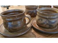 Rustic Handcrafted Ceramic Pottery Coffee cups & saucers x 3 & 2 more cups as new condition
