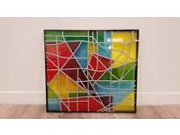 Cool multicoloured stained glass effect in double glazed frame art abstract window