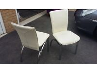 4 Cream Faux Leather/Chrome Dining Chairs