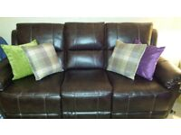 MUST GO ASAP!! 2X 3 SEATER RECLINING SOFAS. BROWN FABRIC LEATHER. ONLY 2 YEARS OLD FROM HARVEY'S.