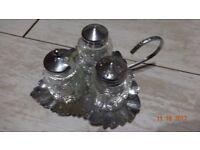 Vintage Mini Condiment Set/Tray/Salt & Pepper/Cruet Table Set