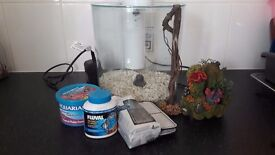 Small Fish tank and accessories - food, filters, decorations. tropical or fresh water