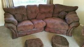 Corner Sofa Suite with 2 Armchairs + cushions and beanbags