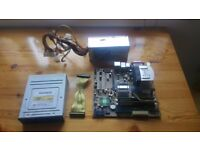 Asus motherboard with CPU, power supply, memory and DVD-RW
