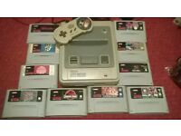super Nintendo snes with 10 games