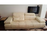 Cream real leather sofa