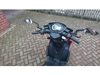 Red and white 50cc moped helmet and gloves included
