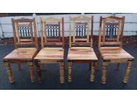 A Nice Unusual Solid Wood Dining Table & Four Chairs