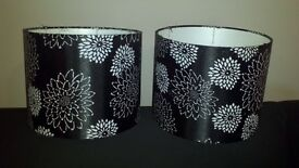 Two Black and White Flower Lampshades.