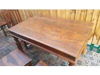 Solid vintage wooden table with 6 solid chairs